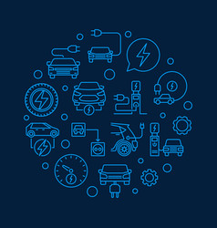plug-in electric vehicle circular blue line vector image