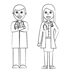 Professionals couple of doctor hospital staff vector