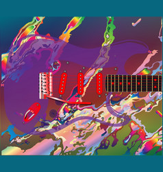 psychedelic guitar background vector image
