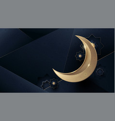 ramadan kareem gold moon and abstract luxury vector image