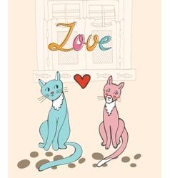 Romantic cats couple vector