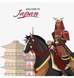 Samurai and horse cartoon design vector