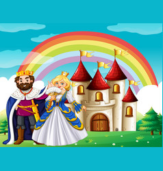scene with king and queen at the palace vector image