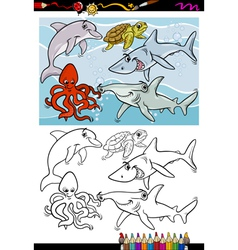 sea life animals cartoon coloring book vector image