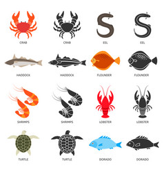 Seafood and fish icons set with two types of vector