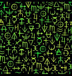 seamless pattern colourful neon alchemical vector image