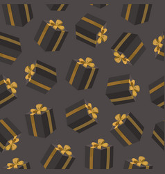 seamless pattern with black gift boxes vector image