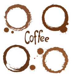 Set coffee stains vector