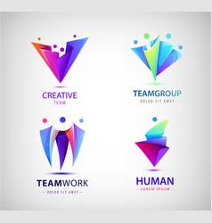 set human people group logos family vector image
