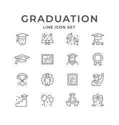 set line icons graduation vector image