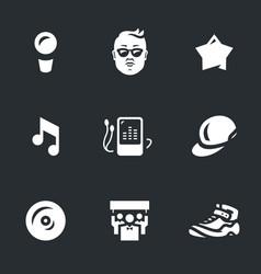 Set music rap star icons vector