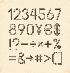 Set - Numbers and other symbols Retro typography vector