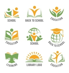 Set of colorful school logos vector image