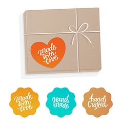 Set of labels and badges for hand-made products vector