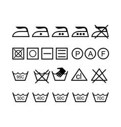 set of laundry icons - washing symbols vector image