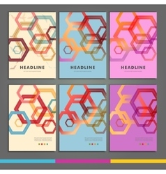 Set of six book covers the background hexagons vector