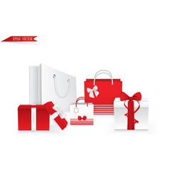 set of square gift boxes with satin ribbons and vector image
