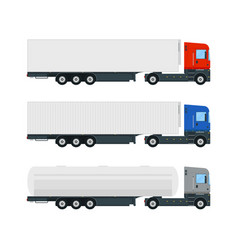 set of three truck trailers vector image