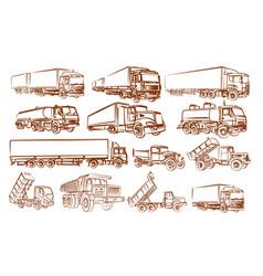Set truck sketch vector