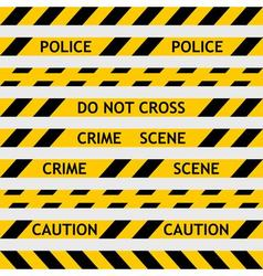 Set yellow police tape enclosing for forensics vector