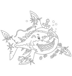 shark pirate attacking vector image