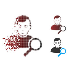 shredded pixel halftone user search icon vector image