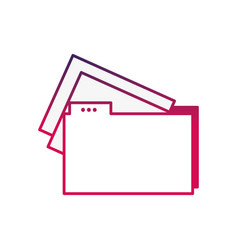 silhouette file folder with documents papers vector image