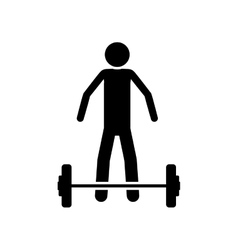 Silhouette monochrome with man weightlifting vector