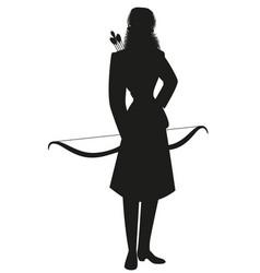 Silhouette woman dressed in winter sportswear vector