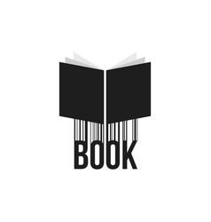 simple black book icon with barcode vector image