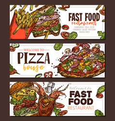 sketch fast food colorful horizontal banner vector image