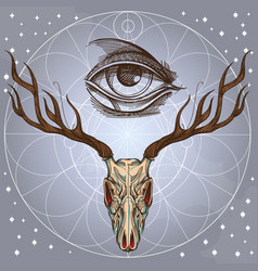 sketch of deer skull and all seeing eye on gray vector image