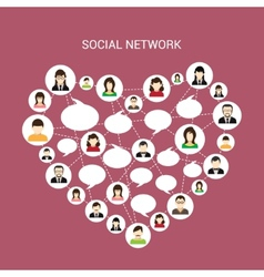 Social network heart vector image