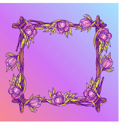 Square frame made of branches with lush flowers vector