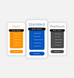Subscription plans and pricing comparision web vector