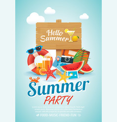 Summer beach party invitation poster background vector
