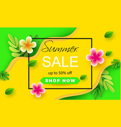 summer sale banner with paper flowers leaves on a vector image
