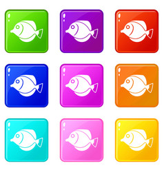 tang fish zebrasoma flavescens icons 9 set vector image