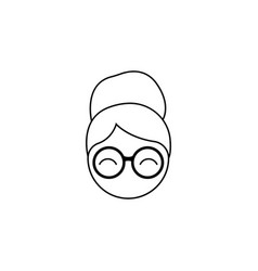 the woman in glasses grandmother icon black vector image