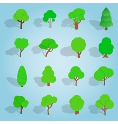 Tree set icons isometric 3d style vector image
