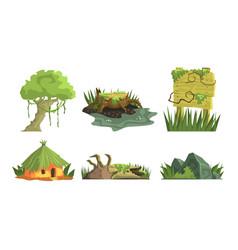 tropical jungle landscape elements set user vector image