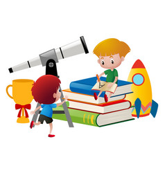 Two boys writing and looking at telescope vector