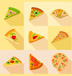 Various pizza icons set flat style vector