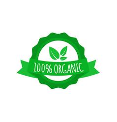 vegan badge round organic food logo with ribbon vector image