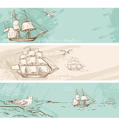 Vintage horizontal banners with sailing ships vector image