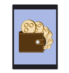 Wallet with omisego coins on a tablet screen vector