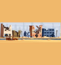 war zone damaged city destroy environment broken vector image