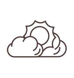 weather sun clouds summer hot line icon style vector image