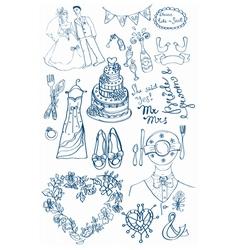 wedding doodle set vector image