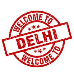 Welcome to delhi red stamp vector